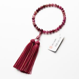 数珠 女性用 ピンクトルマリン8mm 共仕立 正絹房|e-butsudanya