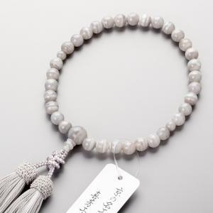 数珠 女性用 グレー縞瑪瑙8mm玉 共・上仕立 正絹房|e-butsudanya