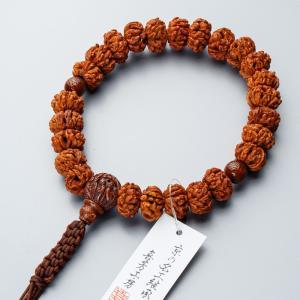 数珠 男性用 桃の実五百羅漢彫25玉 星月菩提樹仕立 正絹八本組紐房 e-butsudanya