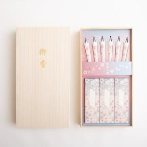 進物線香 桜華の雅 お線香と絵ろうそくのギフトセット e-butsudanya