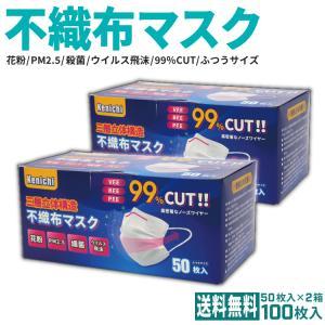 <値下げ> 不織布マスク Kenichiマスク 50枚×2箱 100枚 <送料無料>|e-ca-web