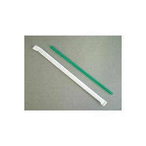 ストローストレート 6x210mm 紙袋入 緑 500本 e-cafe