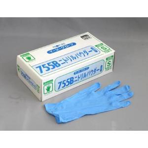 【清掃/厨房用品】オカモトイージーグローブ ニトリルパウダー755B ブルーS 100枚|e-cafe