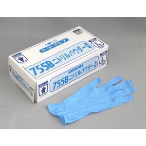 【清掃/厨房用品】オカモトイージーグローブ ニトリルパウダー755B ブルーL 100枚|e-cafe