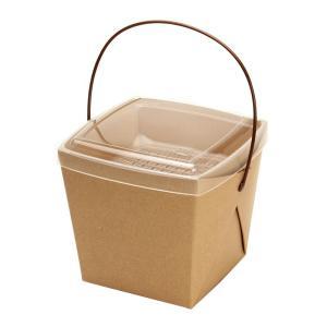 テイクアウト容器 取っ手付ランチボックス デリメイトTK125 カンゴウ容器付 クラフト 20個 e-cafe