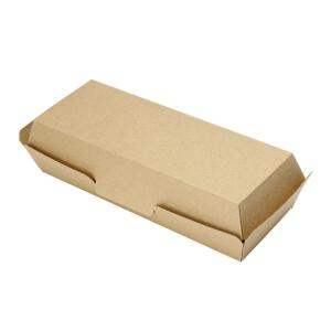 クラフトフードボックス ホットドックカートン(未晒)65x185x27mm テイクアウト用 50枚|e-cafe