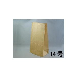 テイクアウト用紙袋 角底袋14号未晒(茶色) 195x125xH350mm 500枚|e-cafe