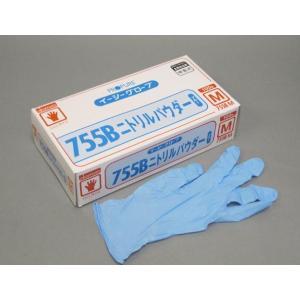 【清掃/厨房用品】オカモトイージーグローブ ニトリルパウダー755B ブルーM 100枚|e-cafe