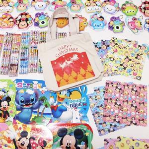 ディズニーツムツム・ディズニー文具色々150個セット、XMASトートバック50枚付 e-christmas