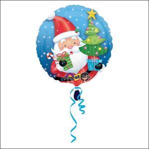 クリスマス装飾丸風船 サンタwithツリー【リボン付】 45cm 【バルーン・ディスプレイ・飾り】|e-christmas
