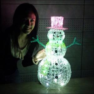 [3割引]LEDイルミネーション クリスタル スノーマン H60cm / 動画有 e-christmas