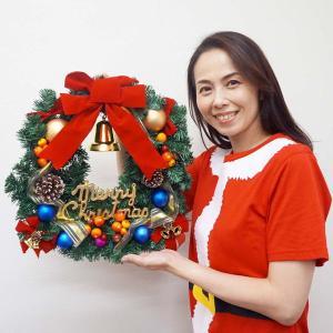 クリスマス装飾 ゴールドリボンリース 45cm / 飾り付け ディスプレイ デコレーション e-christmas