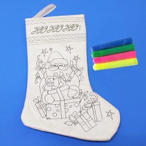 クリスマス手作り工作キット クリスマスプレゼント用ぬりえ色塗りくつ下 HOHOHO!|e-christmas
