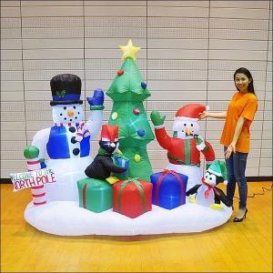 クリスマスエアブロー装飾 ツリー&スノーマン H210cm×W210cm|e-christmas