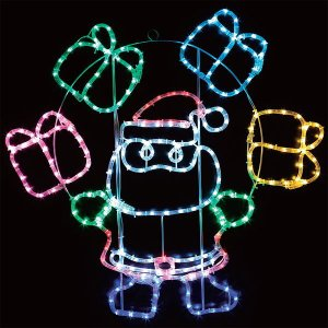 LEDイルミネーション チューブライト サンタ&プレゼントボックス H85cm / 動画有 e-christmas