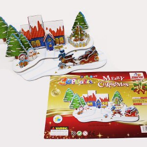 クリスマス手作りキット 3D立体の紙製パズル クリスマスハウス|e-christmas