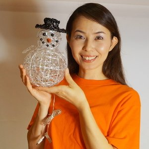 【在庫限り!特価品】[3割引]LEDイルミネーション クリスタルミニスノーマン W18cm×H20cm / クリスマス e-christmas