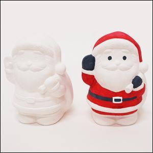 クリスマス手作り工作キット お絵かき陶器貯金箱 サンタ 1個|e-christmas