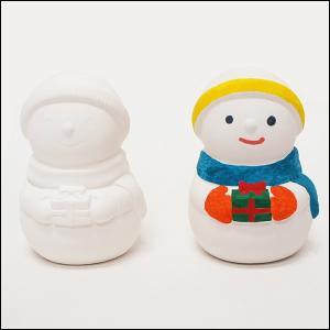クリスマス手作り工作キット お絵かき陶器貯金箱 スノーマン 1個|e-christmas