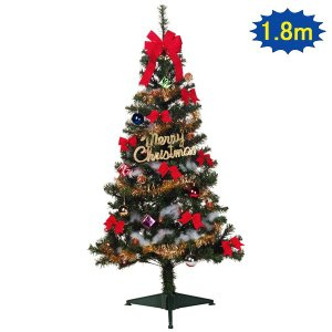 クリスマス装飾 クリスマスツリー ファミリーセット 180cm(オーナメント付)|e-christmas