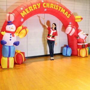 クリスマスエアブロー装飾 アーチ W500cm H280cm / ディスプレイ エアブロウ サンタ/動画有|e-christmas