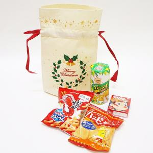 お菓子入りクリスマスギフトバッグ 巾着 22cm 10個/ 動画有|e-christmas