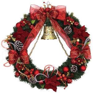 クリスマス装飾 スペシャルデコレーションリース レッドベル 80cm / クリスマス 飾り ディスプレイ e-christmas