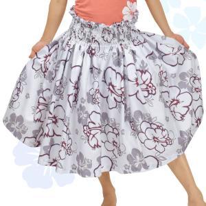 フラダンス衣装 パウスカート スカート パウ シングル 5本ゴム 70cm 75cm ハイビスカス JD84291