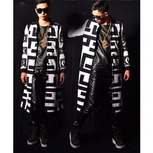 b系 メンズ ダンス衣装 ロングコート 細身 男性用 演出服 練習着|e-dance