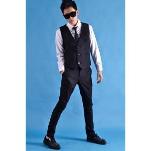 b系 メンズ ダンス衣装 ベスト+ズボン 細身 男性用 演出服 練習着|e-dance