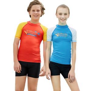 子供水着 キッズ 半袖水着 紫外線対策 ストレッチ 柔軟 速乾 ナイロン カラーマチング 快適 鮮やか 夏 カジュアル|e-dance