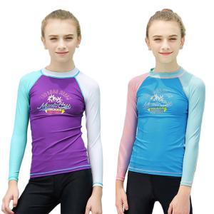 可愛い水着 子供 長袖水着 紫外線対策 速乾 ナイロン ストレッチ 柔軟 カラーマチング 通気性 吸湿 swim 遊園地|e-dance