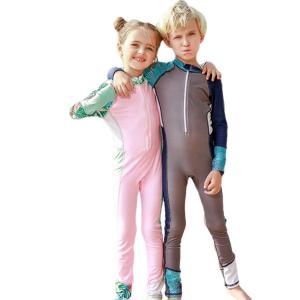 オールインワン水着 キッズ 一体化水着 長袖 紫外線対策 柔軟 速乾 ナイロン ストレッチ カラーマチング 通気性 吸湿 夏 カジュアル|e-dance