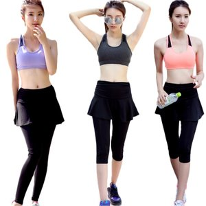 Yoga 女性 ヨガ3セット 半袖 無地 スカート 通気性 吸湿 fashion 細身 滑らか 韓風 快適  スポーツ ビッチ|e-dance