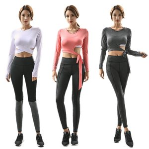 Yoga 女性 ヨガ2セット 長袖 無地 ハイウエスト K-POP 鮮やか 着やせ 体型 セックス ファッション 速乾  運動 練習用服|e-dance