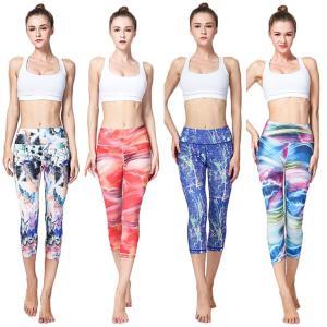 Yoga 女性 ヨガパンツ サブリナパンツ プリント 迷彩 体型 セックス ファッション 速乾 K-POP 鮮やか 着やせ  カジュアル 海|e-dance