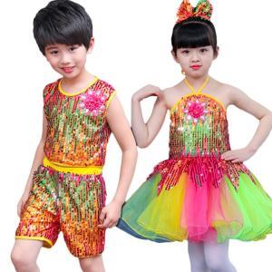ダンサー必見! セット ノースリーブ ワンピース 子供 男の子 女の子 レインボー スパンコール 鮮やか 通気性 可愛い 演出 こどもの日 演出服|e-dance