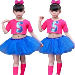 チームお揃い! 半袖 セット チュチュスカート 子供 女の子 スパンコール スパンコール へそ出し 快適 プリンセス 鮮やか お祝い ダンスチーム 演出チーム|e-dance