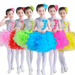 チームお揃い! ワンピース ノースリーブ 子供 女の子 層付き コサージュ付き スパンコール 快適 プリンセス 祝日 イベント お祝い|e-dance
