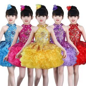 新作 ワンピース ノースリーブ 子供 女の子 肩出し 層付き コサージュ付き スパンコール プリンセス 鮮やか 通気性 お祝い ダンスチーム 演出チーム|e-dance