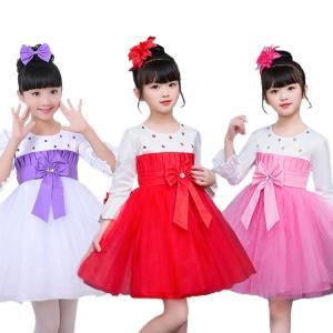 新作 プリンセスドレス 長袖 子供 女の子 コサージュ付き スパンコール リボン 層付き 快適 プリンセス 鮮やか 祝日 イベント お祝い|e-dance
