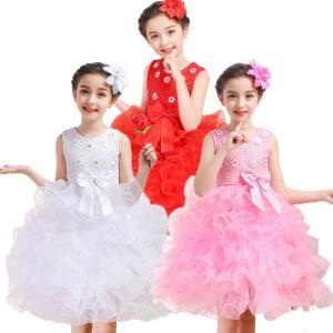 新作 プリンセスドレス ノースリーブ 子供 女の子 コサージュ付き 無地 リボン 層付き fashion 快適 プリンセス 演出服 学園祭 祝日|e-dance