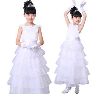 チームお揃い! プリンセスドレス ノースリーブ キッズ 女の子 コサージュ付き 白 リボン 層付き 通気性 可愛い 潮流 ダンスチーム 演出チーム 演出|e-dance
