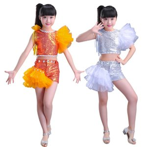 発表会で着るなら是非! セット チュチュスカート 子供 女の子 層付き へそ出し スパンコール ファッション 快適 プリンセス こどもの日 演出服 学園祭|e-dance