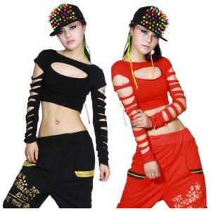 ダンス衣装 tシャツ 長袖 ジャズダンス  レディース ファッション ストリートダンス お買い得 ダンス衣装 ボリュームたっぷり 派手|e-dance
