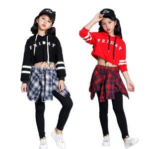 ダンス 衣装 ヒップホップ キッズ セットアップ へそ出し パーカー 子供服 ストリート系 レッスン着 舞台服 舞台服|e-dance
