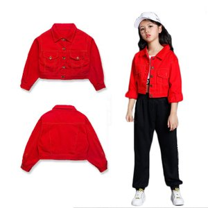 ストリート服 ジャケット ヒップホップ 赤 個性的 練習着 レッスン着 ダンス衣装 子供服|e-dance