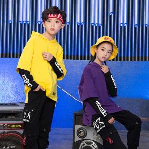 子供服 ダンス衣装 ヒップホップ パーカー 紫 黄色 ジュニア HIPHOP 発表会 イベント|e-dance