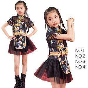 2019新作 女の子 子供 上下セット 半袖 チュチュスカート へそ出し スパンコール 花柄 潮流 ヒップホップ 個性的 チアガール イベント ds|e-dance