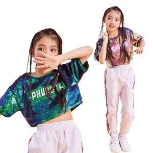キッズダンス衣装 女の子 キッズ tシャツ 半袖 ズボン スパンコール へそ出し ストリートダンス クール スポーツ イベント ds|e-dance